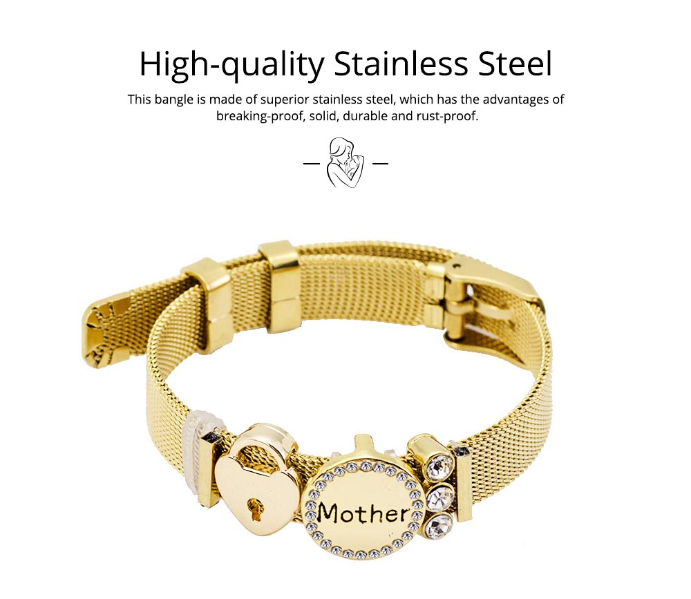 Stylish Heart Lock Model Mother Love Diamond Drilling Stainless Steel Bracelet, Family Love Electroplating Silver Gold Chain Bangle for Mothers 1