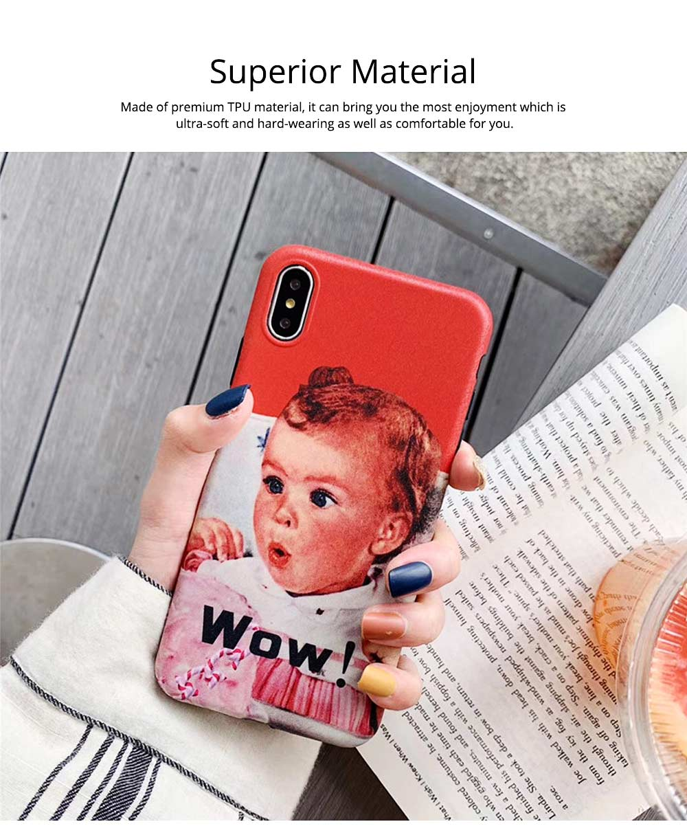 Cute Vintage WOW Girl Phone Shell for iPhone 6/6s, 6p/6sp, 7p/8p, X/XS, XR 1