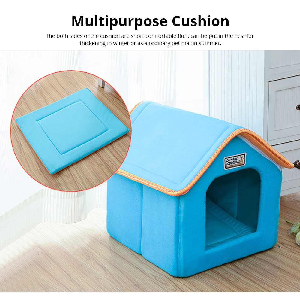 Dogs Cats Home Washable Soft Durable Detachable Pet Nest Autumn and Winter Thickened Pet House for Cat & Small Dog 4