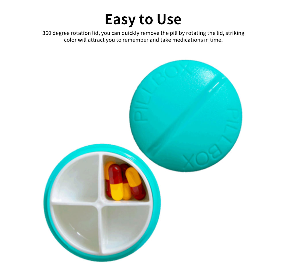 BPA-Free Screw Cap Pill Box Round Capsule Dispenser with 4 Compartments 4