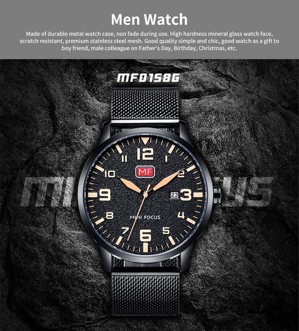 Men's Fashion Quartz Watch with Date Stainless Steel Mesh Band Casual Luminous Wrist Watches Waterproof 30M 0