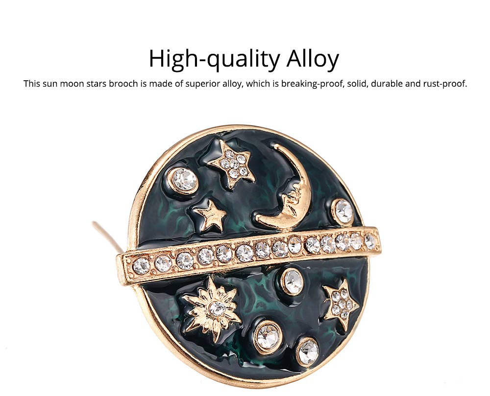 Round Sun Moon Stars Brooches for Ladies, Enamel Painted Alloy Breastpin 1