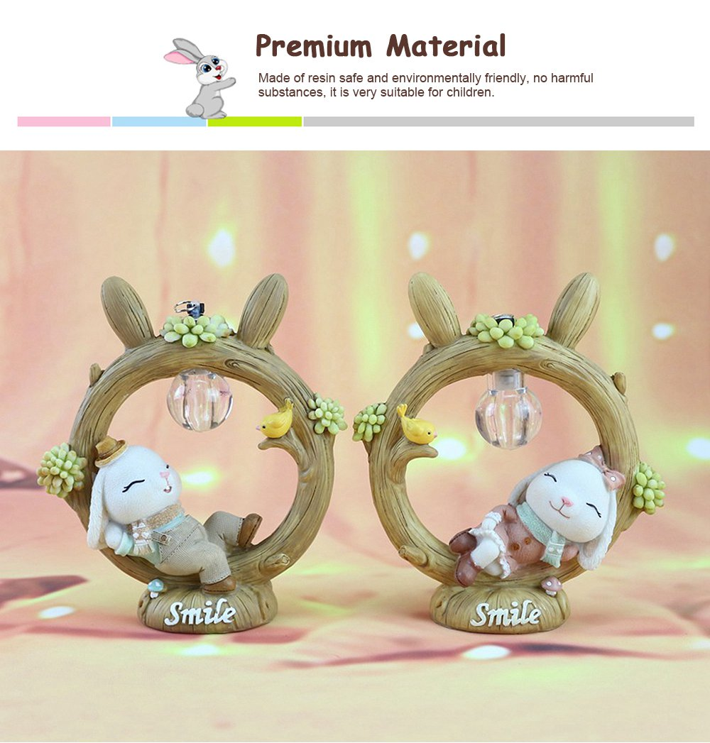 Anne Rabbit Night Light Piggy Bank Resin LED Mini Night Lamp Home Car Decoration Creative Resin Ornaments 3