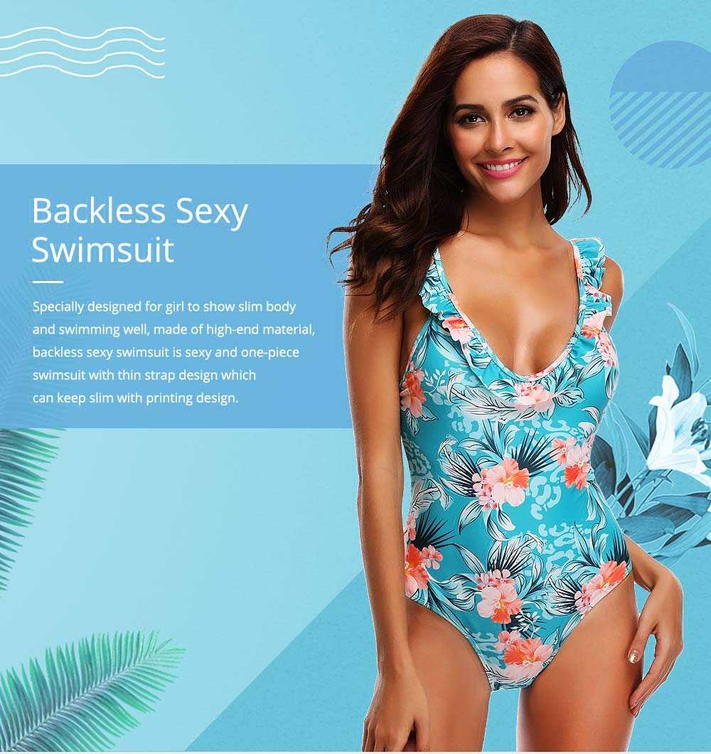 Backless Sexy Swimsuit with Carrying Buttock & Band Design, Printing Skin-friendly Comfortable Swimsuit 0