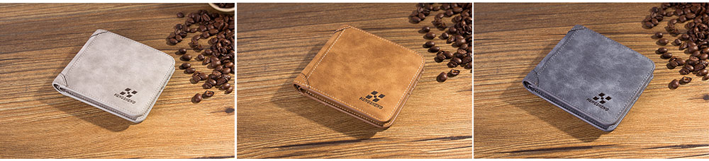 Genuine Leather Frosted Wallet with Three-folding & Multiple Cards Design & SIM Card Slot for Men. 2