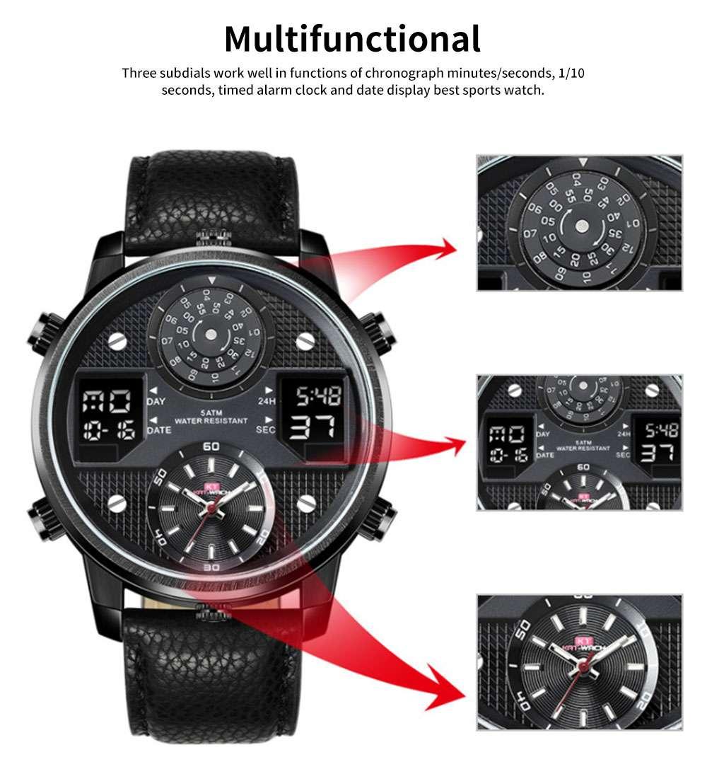 Men's Quartz Watch with Date Genuine Leather Band Minimalist Wrist Watches Nightlight Waterproof 50M Sports Watches for Men 5