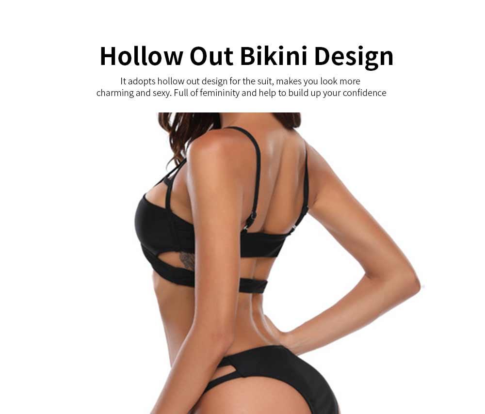 Women's Spaghetti Straps Bandage Bikini Suit, Sexy Bikini with Hollow Design, Hollow Bikini without Steel Falsies Support 2