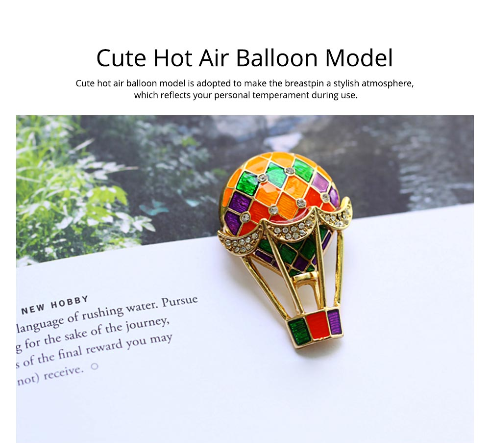Colorful Enamel Painted Hot Air Balloon Model Brooch for Ladies, Stylish Diamonds Drilling Dripping Breastpin 3
