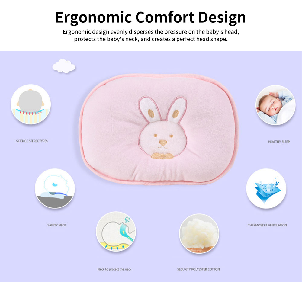 Baby Head Shaping Pillow 100% Cotton Newborn Pillow Flat Head Support Head Syndrome Prevention Pillow 4