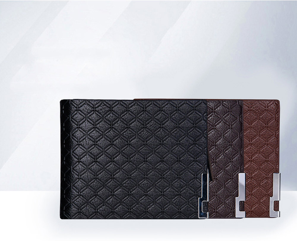 Checkered Change Purse with Two-folding & Multiple Cards Design, Business Genuine Leather Style for Men 2