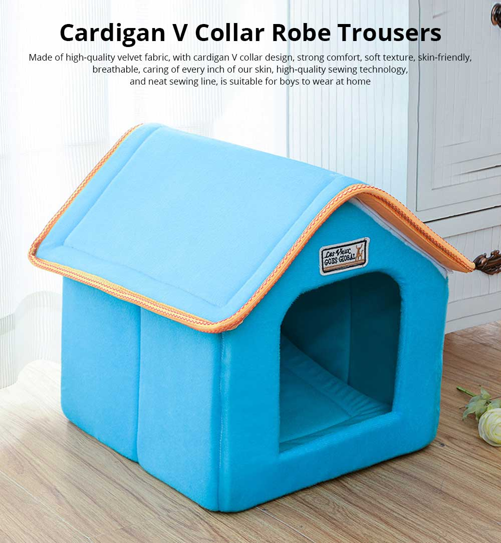 Dogs Cats Home Washable Soft Durable Detachable Pet Nest Autumn and Winter Thickened Pet House for Cat & Small Dog 0