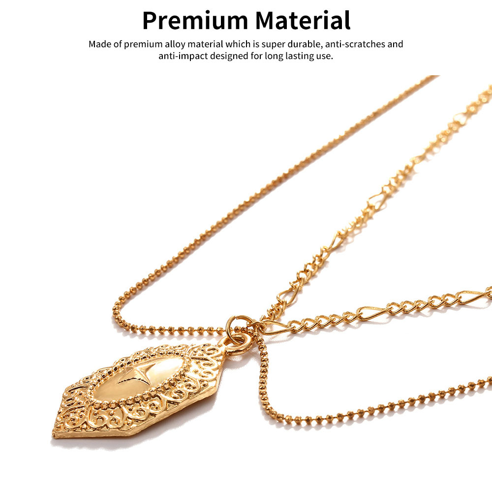 Women Necklace Double-layer Gold Medal Pendant Charm Necklace Religious Fine Jewelry Necklaces for Woman 3