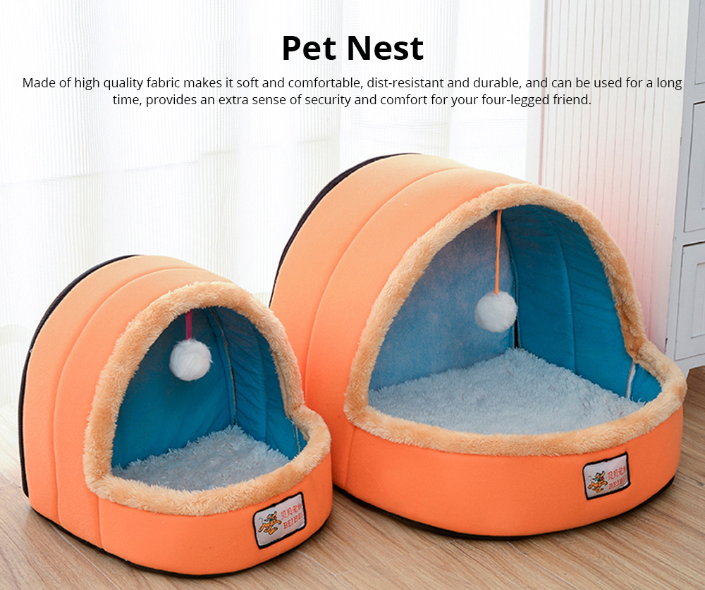 Dogs Cats Home Zipper Soft Durable Anti-skid Mongolian Yurt Shaped Pet Nest Autumn and Winter Thickened Thermal Tent Bed 0