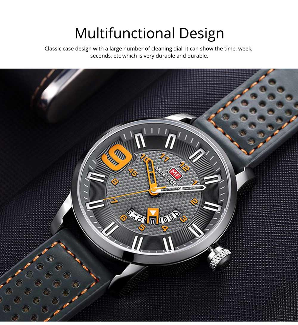 Multifunctional Smart Electronic Watch Large Dial Rotation Calendar Design, Water-poof Digital Watches with Leather Strap 8