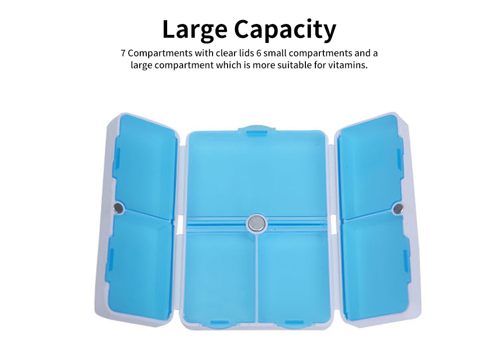 Magnetic Foldable Pill Box Case with 7 Compartments Large Capacity Portable Pill Organizer for Travel Home Use 1