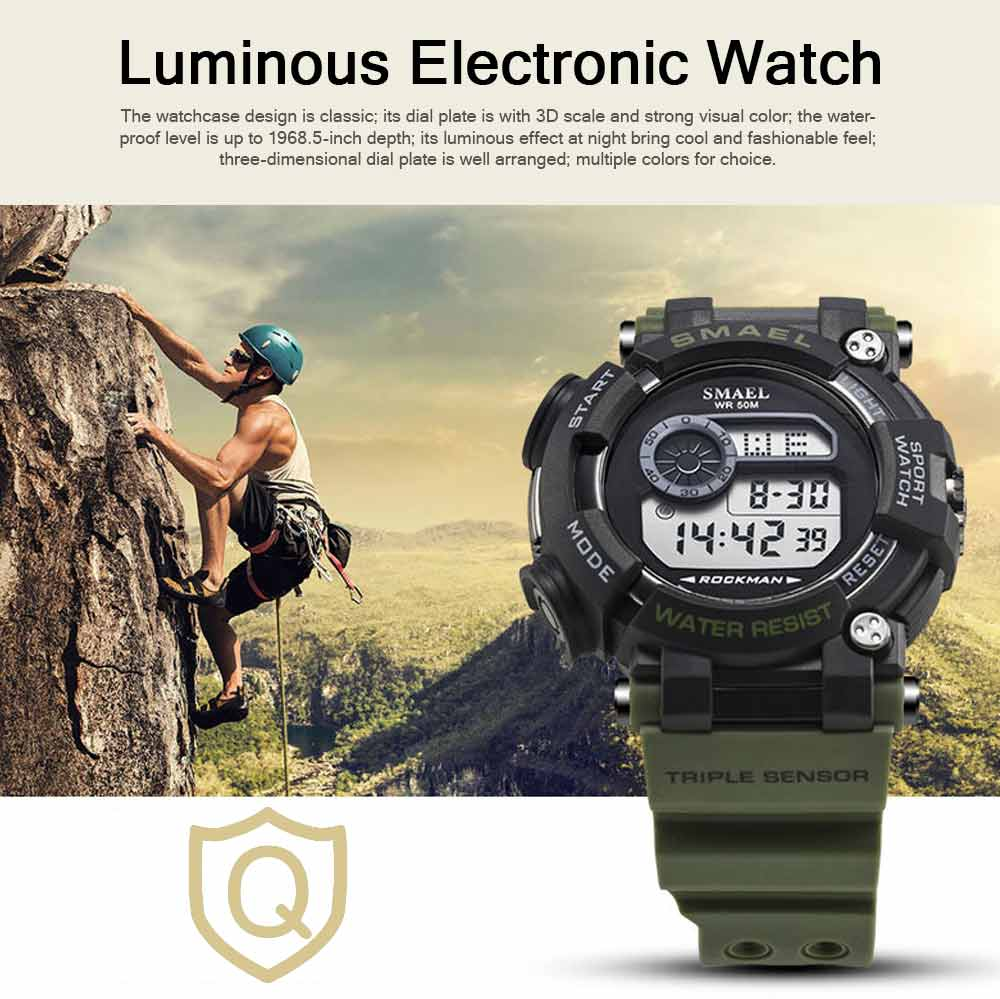 Waterproof Luminous Electronic Watch Red Display For Men Multifunctional Professional Sports Watch 0