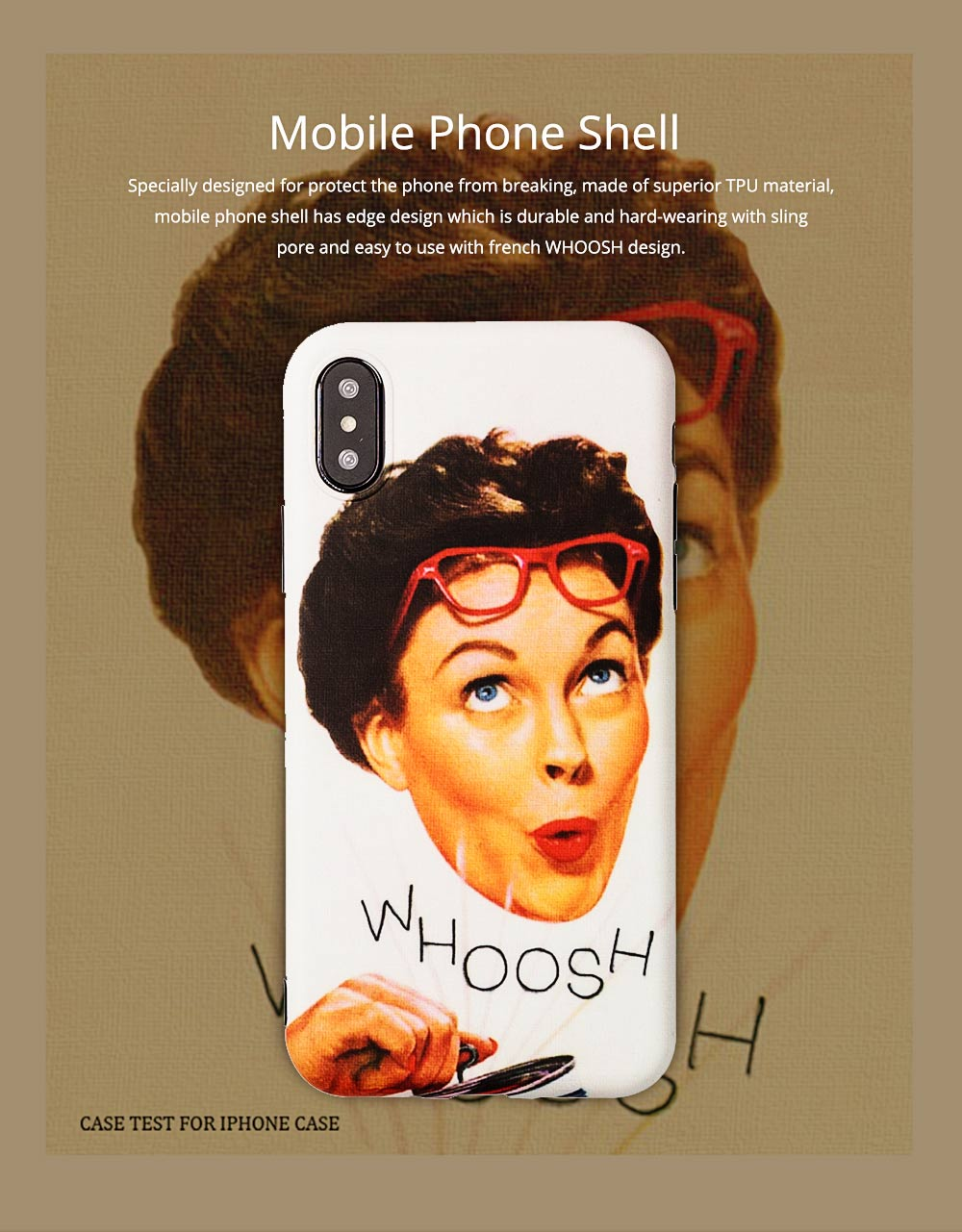 Vintage French WHOOSH Pattern Phone Case for iPhone 6/6s, 6p/6sp, 7p/8p, X/XS, XR 0