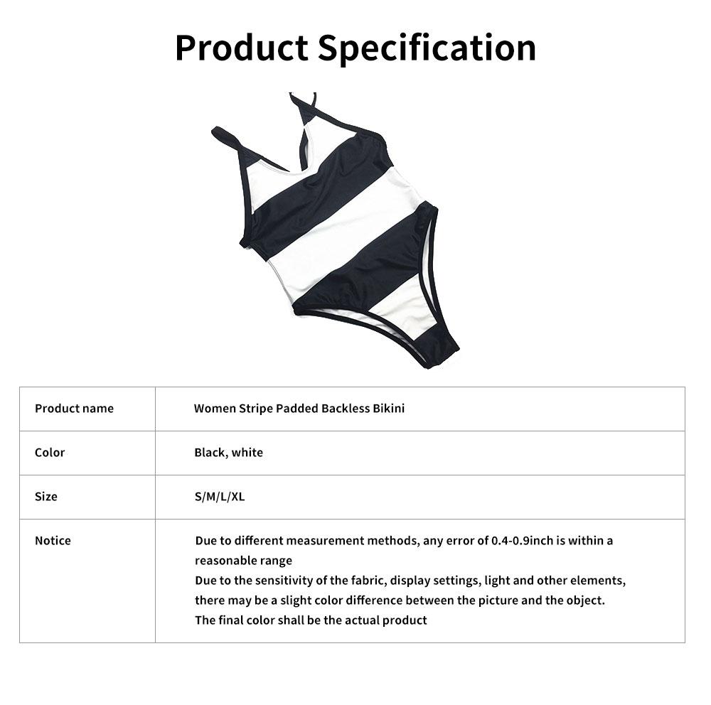 Womens Bikini V-Neck Stripe Padded Backless Soft Beachwear One Piece Swimsuits High Waist Bathing Suit 6