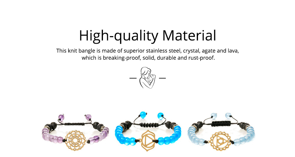 Beautiful Delicate Crystal Agate Lava Stainless Steel Bracelet, Chakra Style Electroplating Knit Hand Chain Bangle for Men Women 1