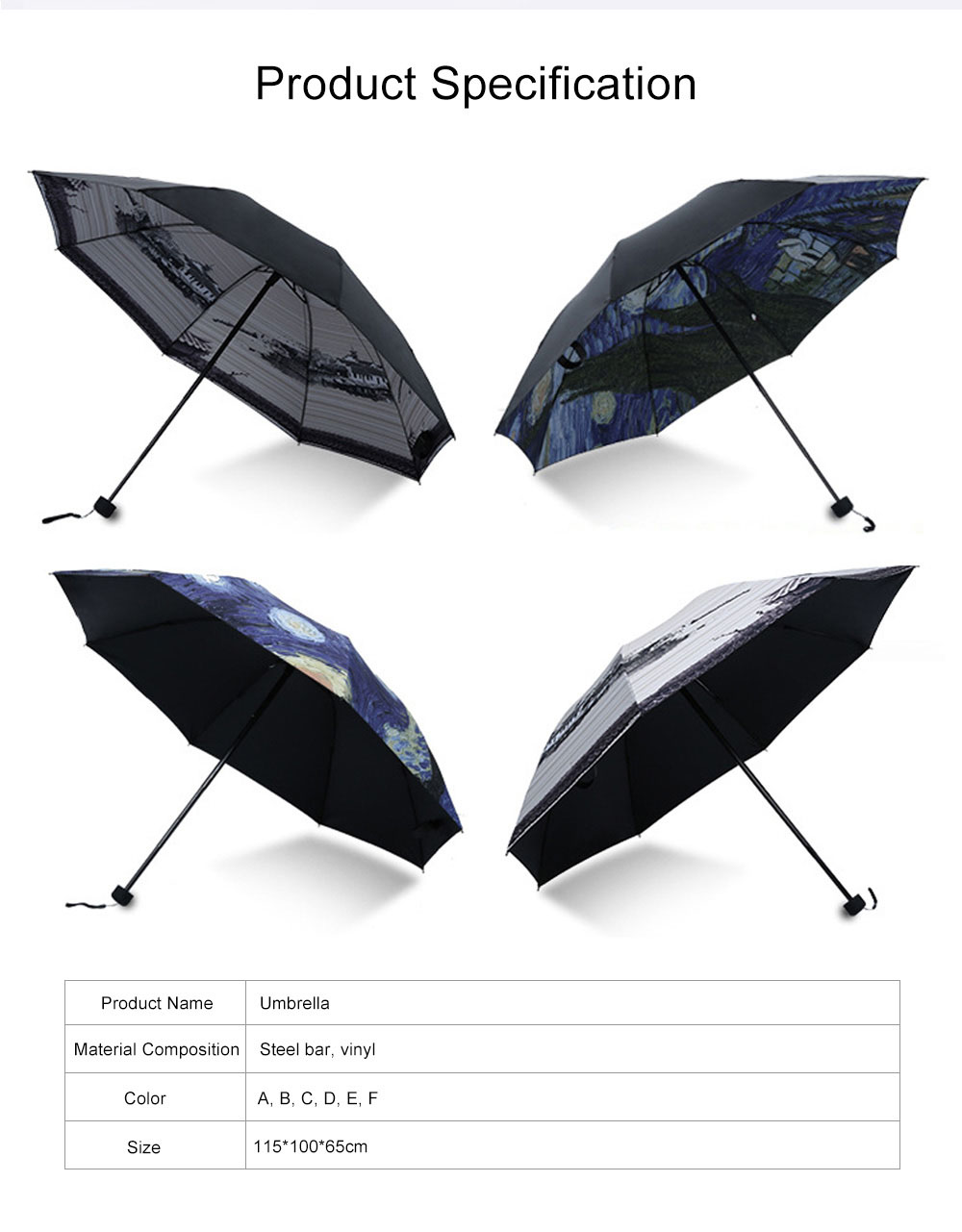 Lady's Multifunctional Outdoor Sun Umbrella with Triple Fold Sun Block of Van Gogh Painting Design 9