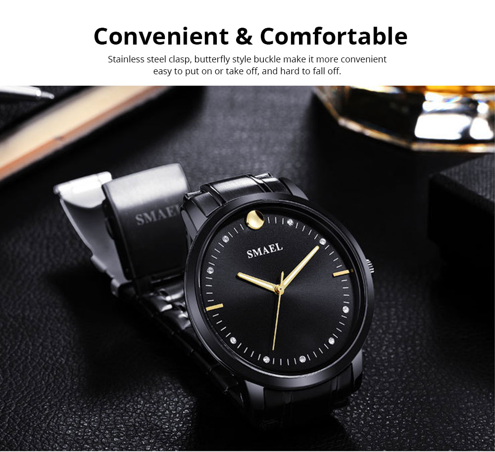 SMAEL Men's Fashion Casual Quartz Watch Outdoor Waterproof Calendar Wristwatch With Stainless Steel Strap 3