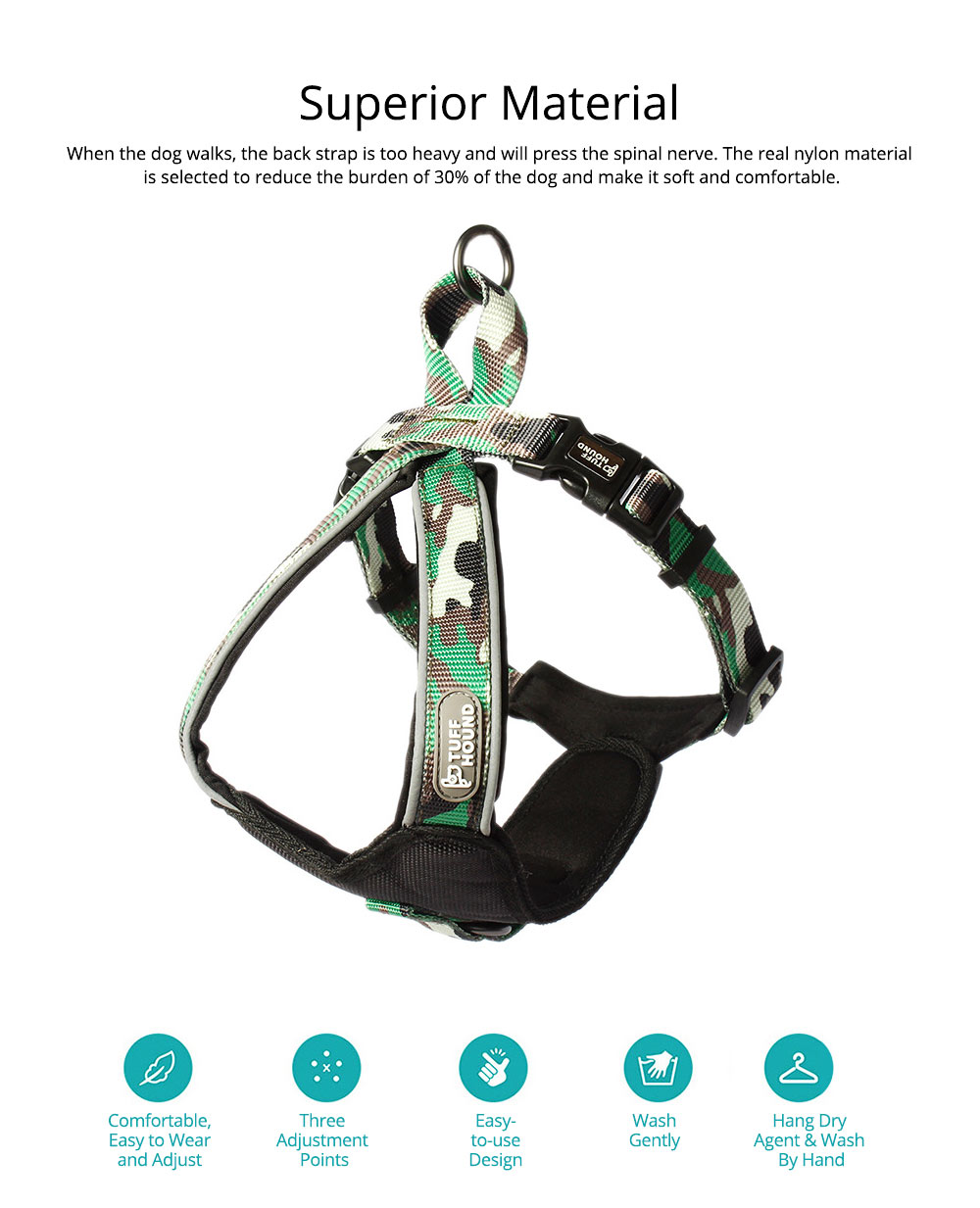Pet Triangle Chest Strap for Medium-sized Large Dog, Dog Safety Vest Harness with Double Buckles and Zinc Alloy Ring 1