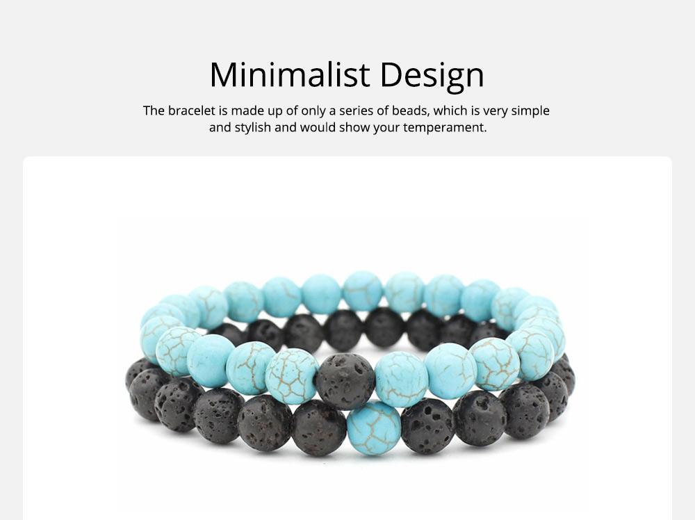 Minimalist Tiger Eye Natural Stone 8MM Beaded Hand Chain Suit, 2PCS Translucent Lava Beaded Bracelet Set for Men Ladies Women 6