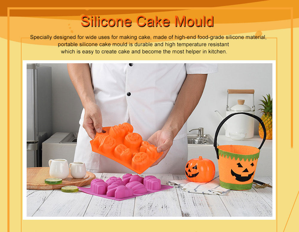 Silicone Cake Mould with Portable Hole, Halloween Style Baking Cake Mold, High Temperature DIY Baking Utensils 0