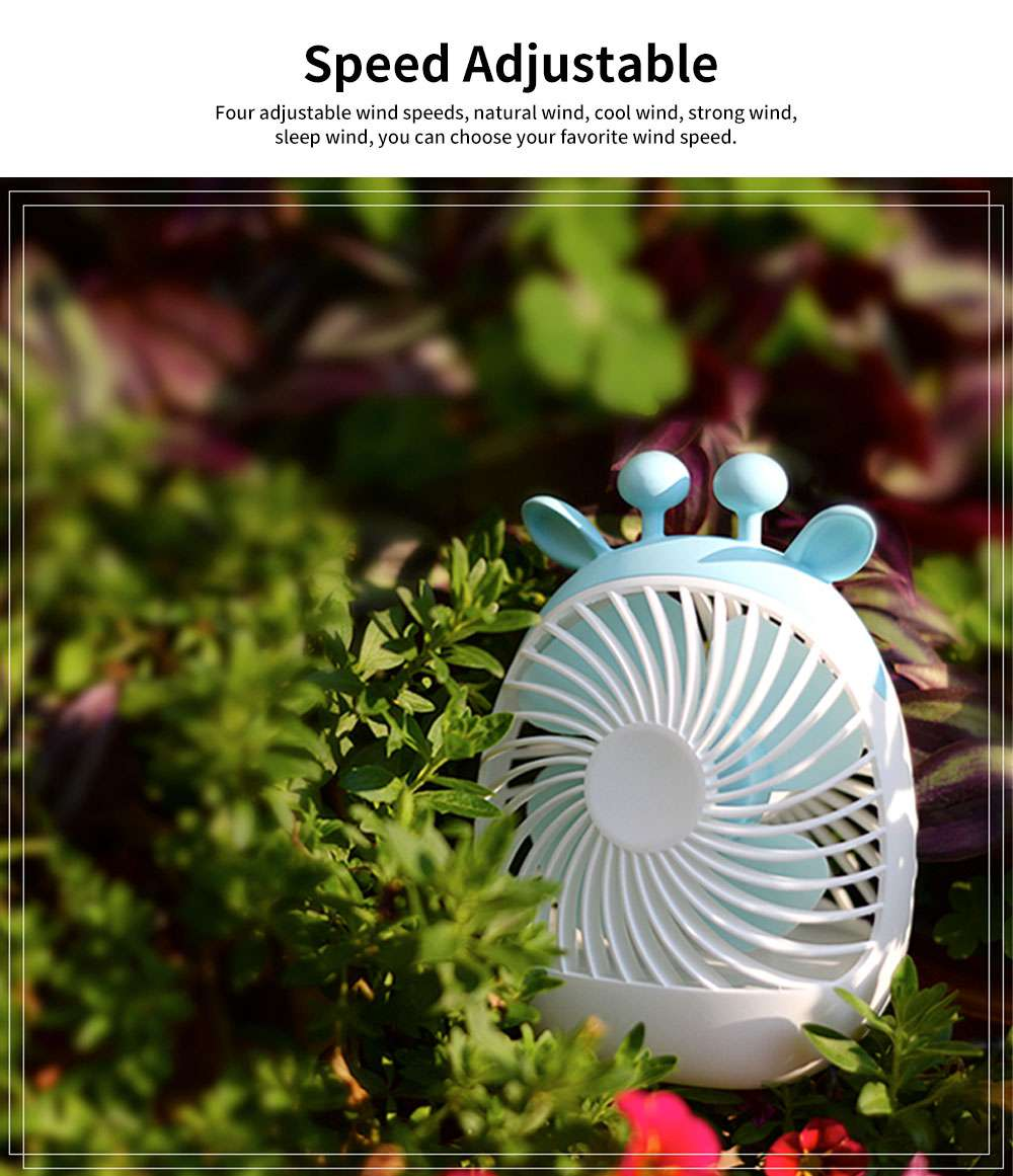 Rechargeable USB Desk Fan Portable Ultra-Quiet PP Plastic Mini Fan 4-Speed Wind 20 Hour Standby 2