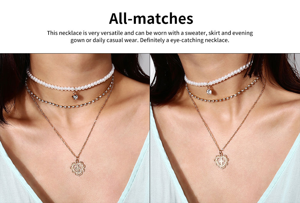 Pearl Choker Multilayer Necklace Chain Flashing Synthetic Diamond Pearl Clavicle Heart-shaped Necklace for Woman 5