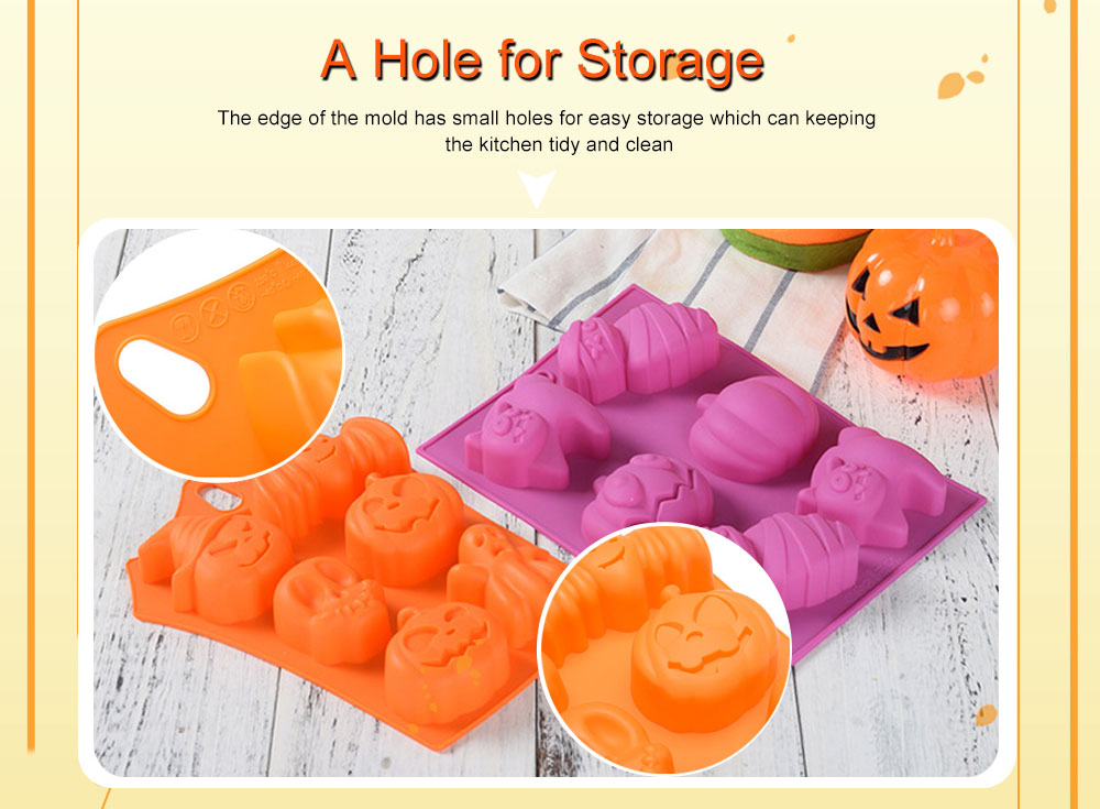 Silicone Cake Mould with Portable Hole, Halloween Style Baking Cake Mold, High Temperature DIY Baking Utensils 3