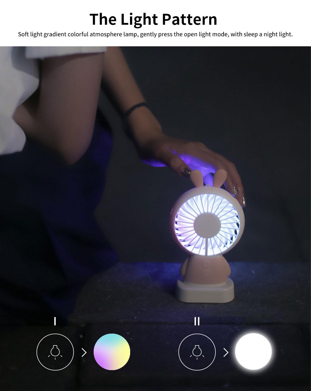 New Rabbit Mini Handheld Fan, Dharma Bear Night Light USB Charging Fan, Outdoor Compact and Convenient Electric Fan 4