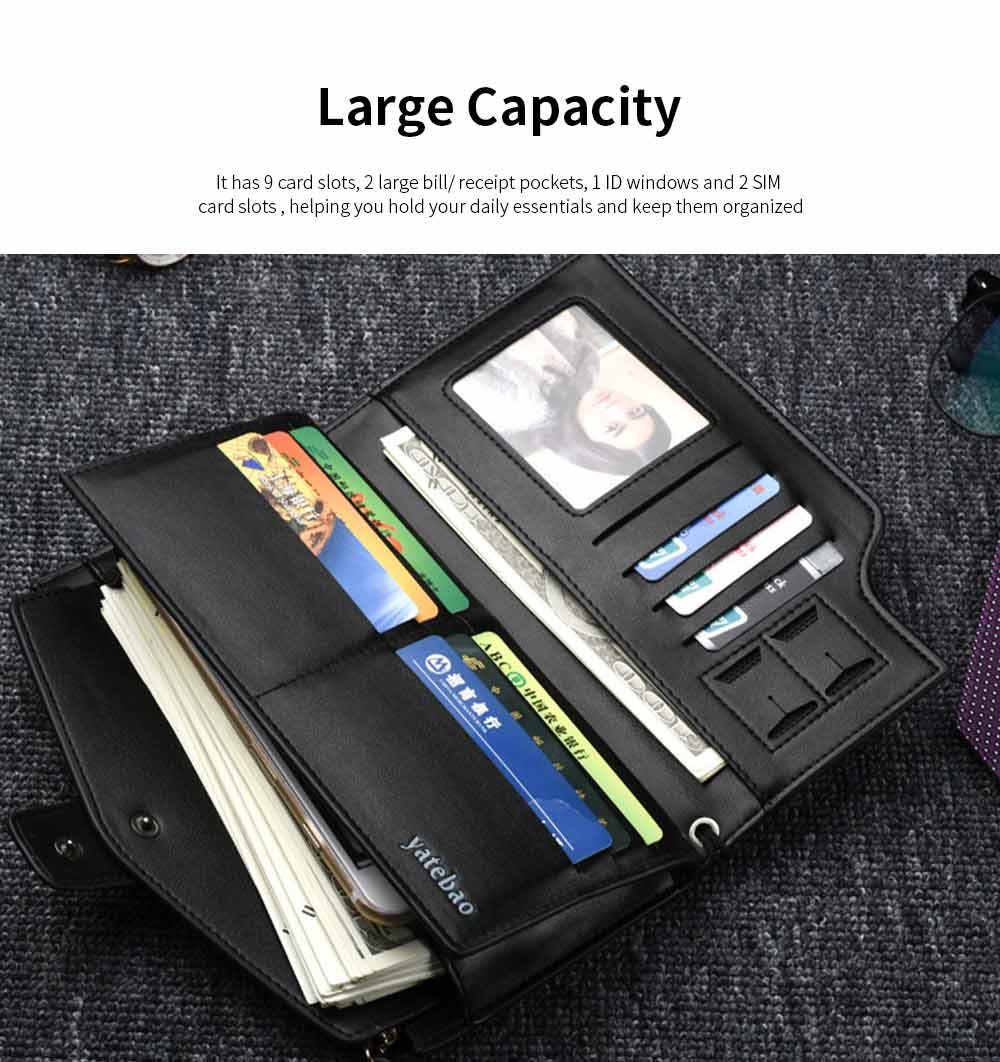 High-End Business Men's Handbags, Zipper Multifunctional Leather Clutch Wrist Bags 2