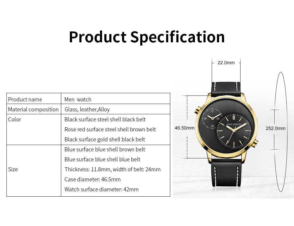 Imported Movement Men's Watch, Leisure Luminous Crystal Cover Watch with Double Movement 6