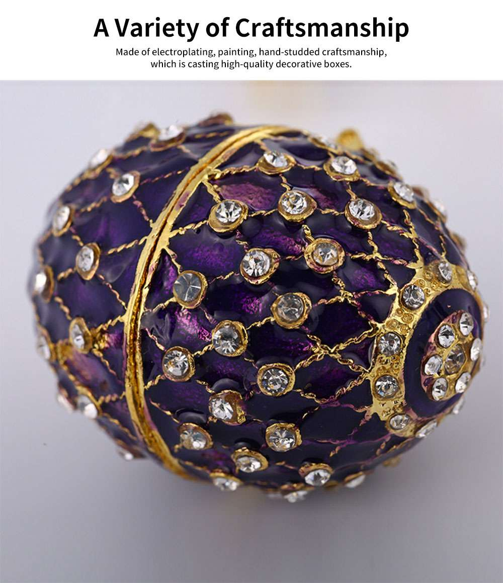 New Easter Egg Shape Jewelry Box, Zinc Alloy Oval Gift Box, Exquisite Vintage Decoration 1