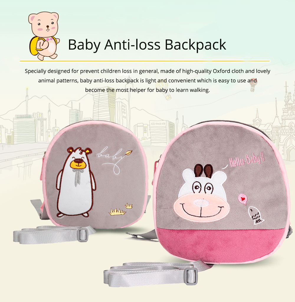 Mini Baby Cartoon Bag for Preventing Lost, Children's Backpack with Anti-loss Traction Cord 0