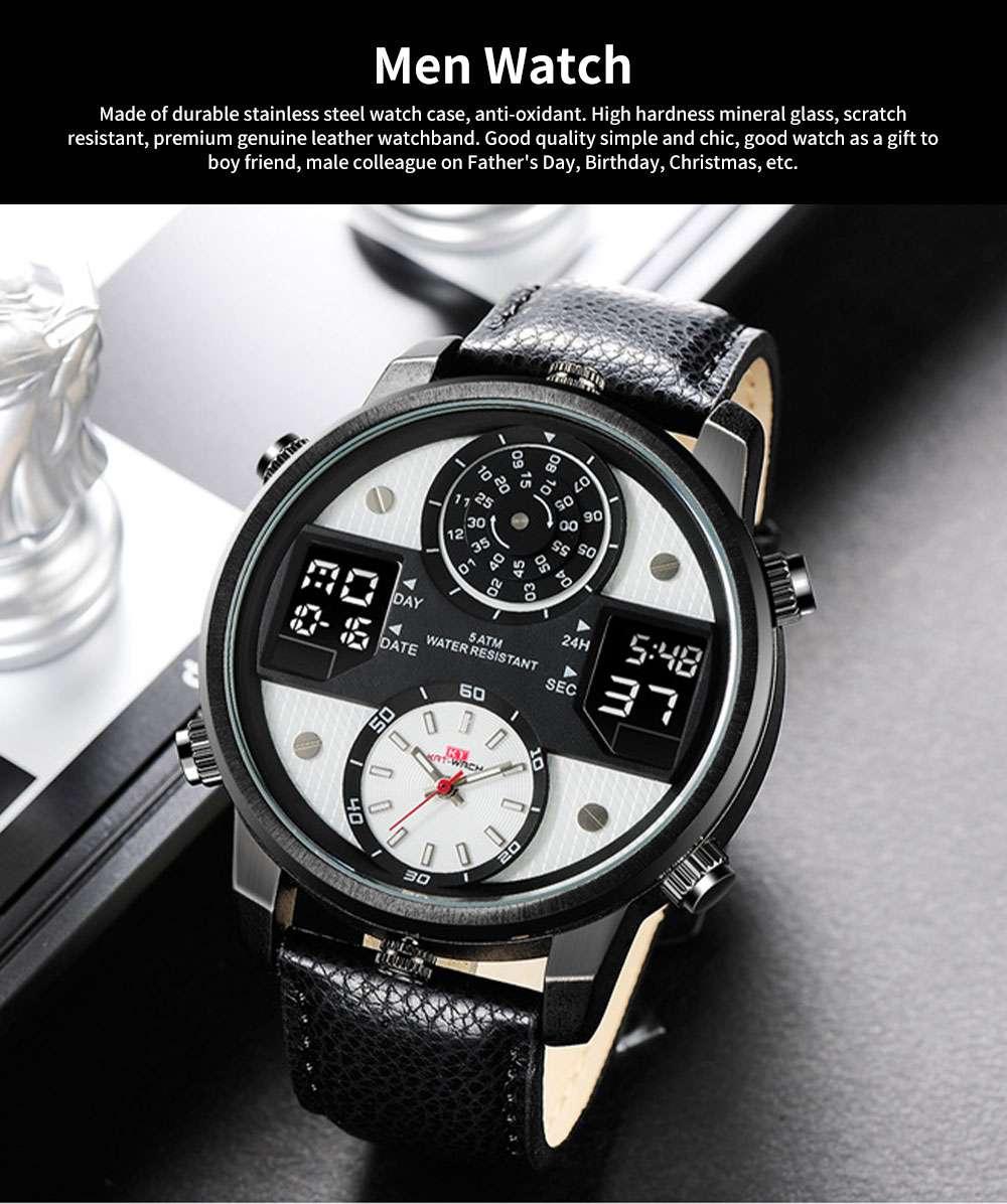 Men's Quartz Watch with Date Genuine Leather Band Minimalist Wrist Watches Nightlight Waterproof 50M Sports Watches for Men 0