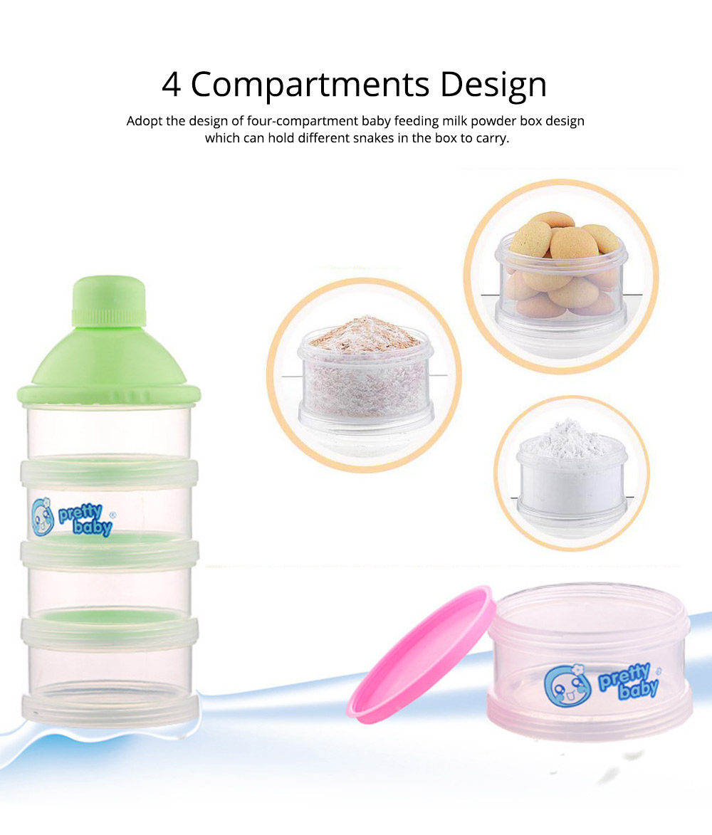 Non-spill Multifunctional Baby Feeding Milk Powder Dispenser, Babies BPA Free Travel Storage Container with Stackable 4 Layers 2