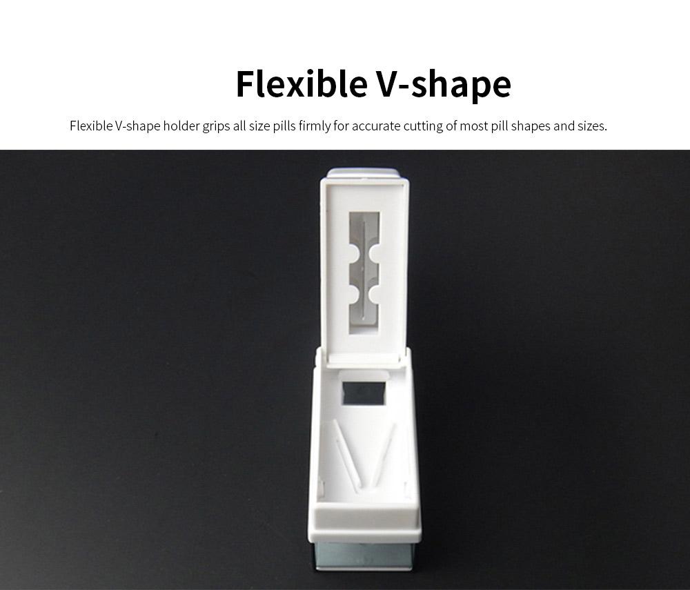 Stamper Shape Pill Cutter Box for Children Elderly, Sharp Stainless Steel V-shape Medicine Cutter Splitter 1