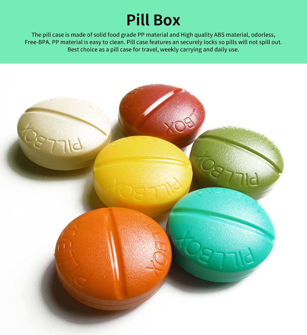 BPA-Free Screw Cap Pill Box Round Capsule Dispenser with 4 Compartments 0
