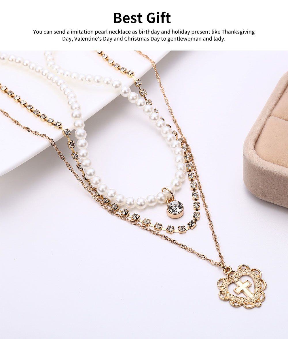 Pearl Choker Multilayer Necklace Chain Flashing Synthetic Diamond Pearl Clavicle Heart-shaped Necklace for Woman 4