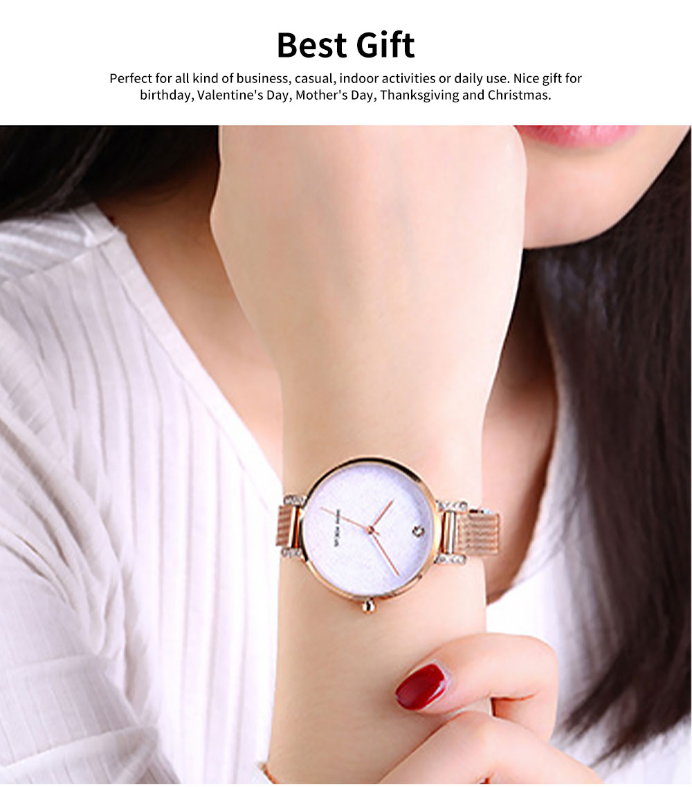 Women's Quartz Watch with Stainless Steel Mesh Band, Casual Fashion Wrist Watches Bracelet for Women Lady Girl With Gift Box 5