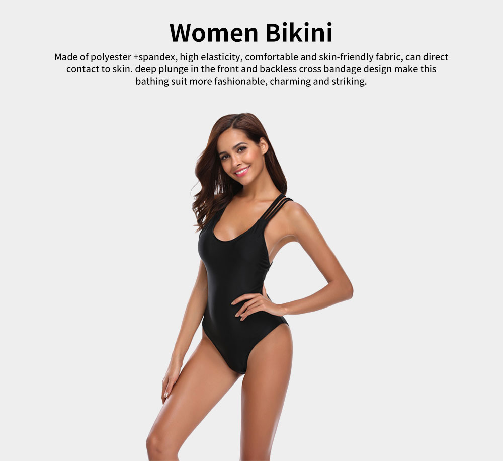 Womens Bikini V-Neck Sexy Padded Backless Bandage Beachwear One Piece Swimsuits High Waist Bathing Suit 2019 New Hot 0