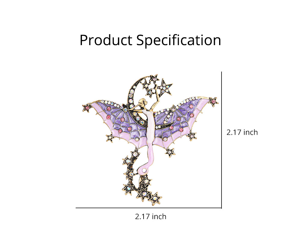 Dainty Fairy Stars Moon Model Alloy Brooch for Women Ladies, Stylish Bag Clothes Decoration Breastpin with Diamond Drilling Ornament 6