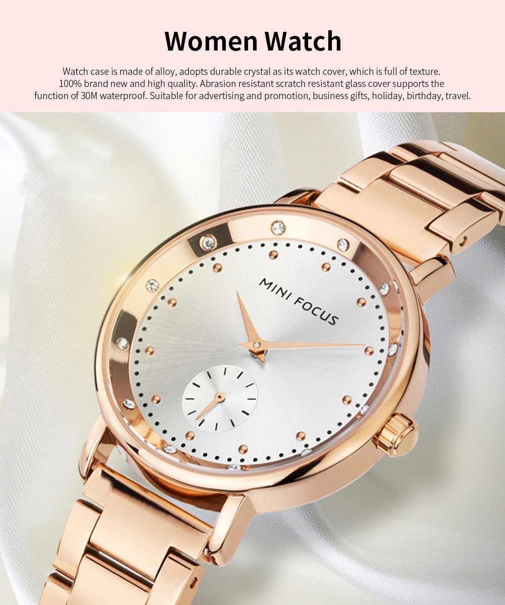 Diamond-encrusted Lady's Watch, Stainless Steel Band Casual Quartz Wrist Watch, Ladies Waterproof Stylish Watch 0
