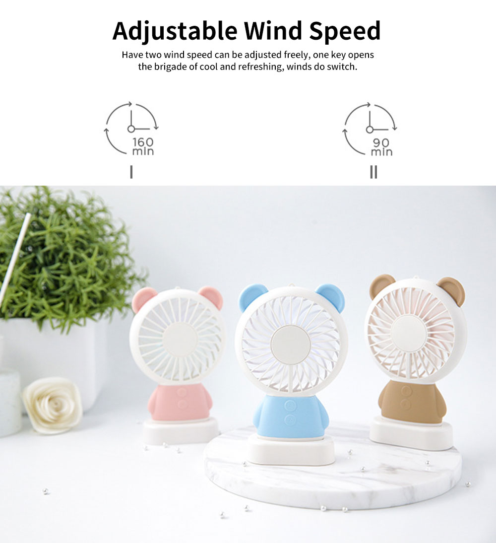 New Rabbit Mini Handheld Fan, Dharma Bear Night Light USB Charging Fan, Outdoor Compact and Convenient Electric Fan 2