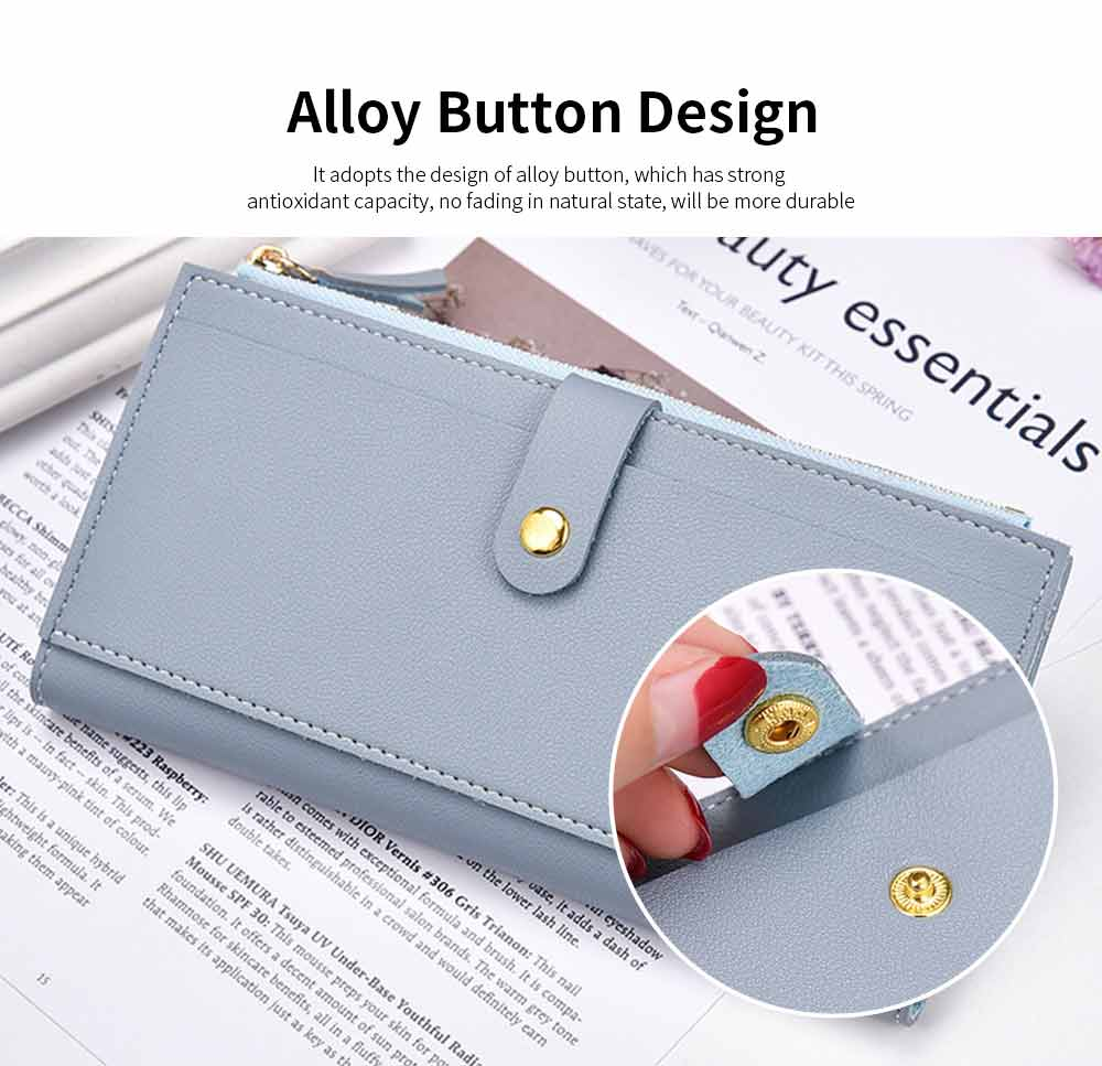 Ladies Snap Button Purse, Long Tri-fold Credit Card Purse Card Holder 1