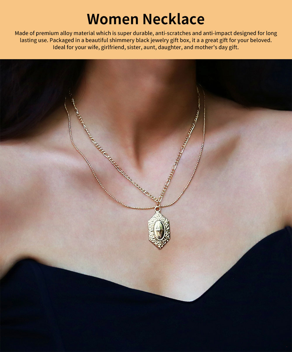 Women Necklace Double-layer Gold Medal Pendant Charm Necklace Religious Fine Jewelry Necklaces for Woman 0