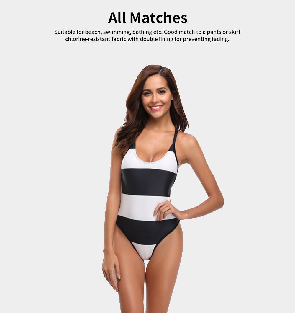 Womens Bikini V-Neck Stripe Padded Backless Soft Beachwear One Piece Swimsuits High Waist Bathing Suit 4