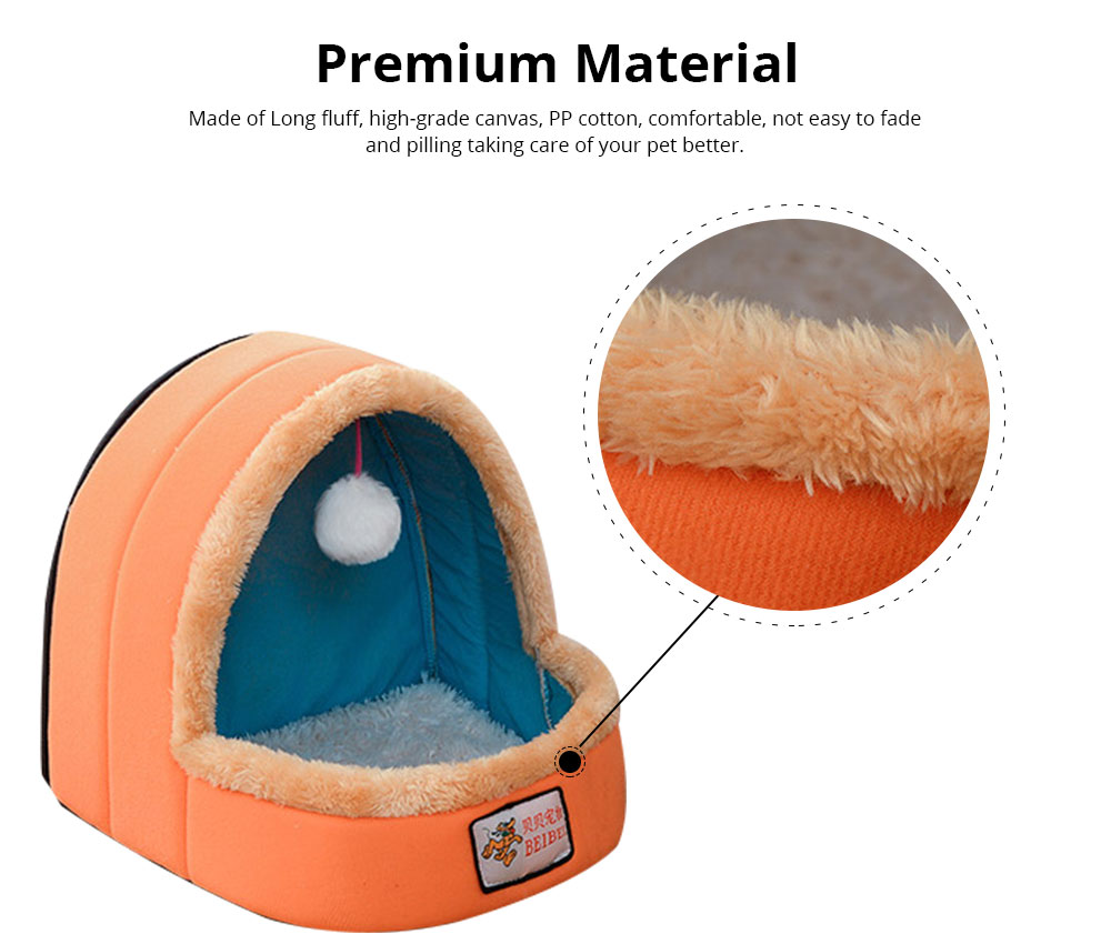 Dogs Cats Home Zipper Soft Durable Anti-skid Mongolian Yurt Shaped Pet Nest Autumn and Winter Thickened Thermal Tent Bed 1
